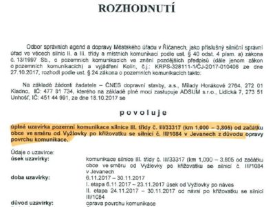 uzavirka_silnice_Vyzlovka-Jevany